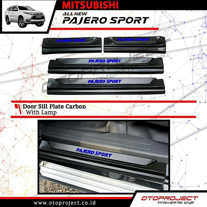 Door Sill Plate All New Pajero Sport With Lamp Carbon / Sill Plate Samping lampu karbon